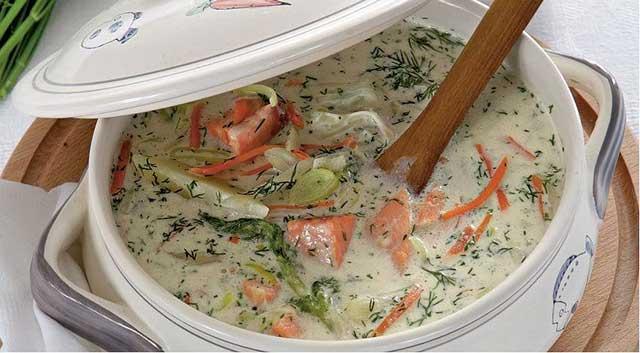 Как приготовить из сливок и красной рыбы вкусный суп