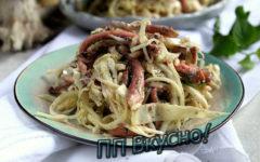 Как приготовить очень вкусный диетический кальмаровый салат