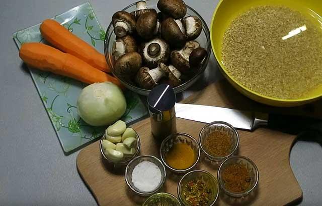 Ингредиенты для вегетарианского плова