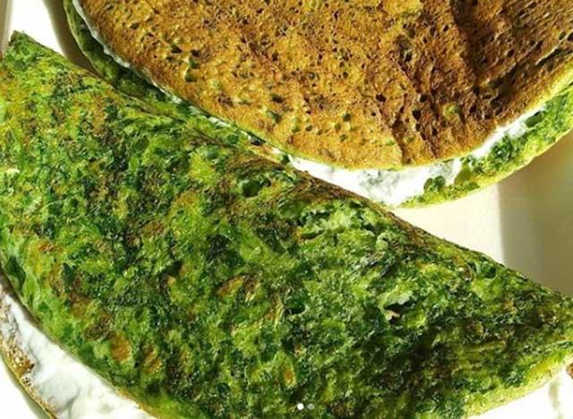 Зеленый рисоблин с творожным сыром